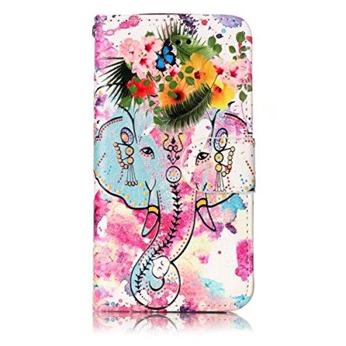 iPhone 5S Hülle, iPhone SE Hülle, Gift_Source [ Traumfänger Eule ] Magnetisch Dünn Leder Folio Flip Klapphülle Etui Schutzhülle Tasche Case mit Magnetverschluss und Kartenfächer Handy Tasche Hülle Cov E1-Blumen Elefanten