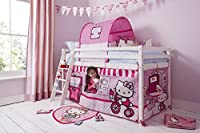Hello Kitty Midsleeper Cabin Bed Kids with Tent in White Noa & Nani