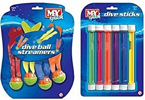 M.Y Underwater Dive Balls & Sticks Swimming/Diving Sinking Pool Toys - Double Pack