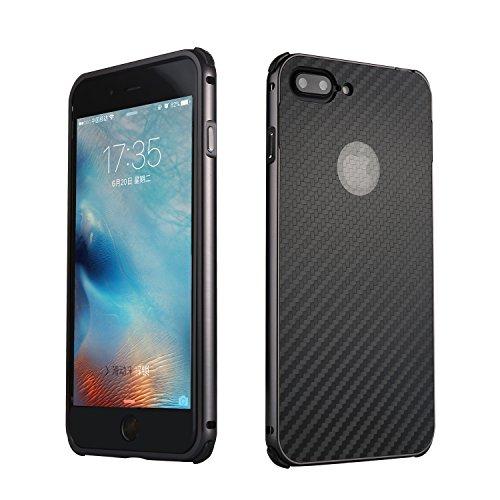 iPhone 7 Plus Hülle, iPhone 8 Plus Hülle, Valenth Carbon Fiber Partern Aluminium Metall Stoßdämpfer Shockproof Schutzhülle für iPhone 8 Plus / iPhone 7 Plus Schwarz