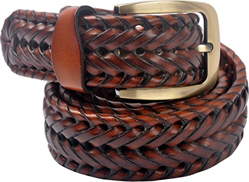 VOGARD Men's Genuine Leather Braided Belt Tan