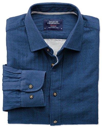 Extra Slim Fit Hemd aus beidseitigem Gewebe in blau blau (Knopfmanschetten Cuff)