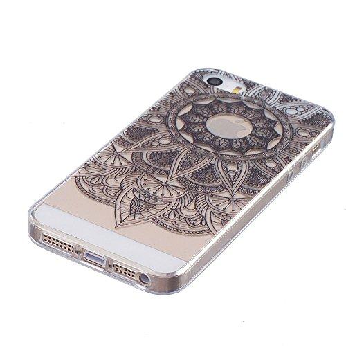 Transparente Coque iPhone 5S Silicone Souple Case Beau Mandala Noir Motif Mode, Solaxi TPU Housse Étui pour Apple iPhone SE / 5S / 5 Ultra Mince Couverture Légère Slim Flexible Coquille Shell Skin Pro Tournesol noir