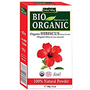 INDUS VALLEY Organic Hibiscus Flower Powder For Hair Care & Face Pack - (100g)