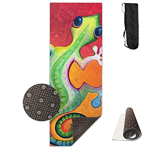 Deglogseccce Yogamatte/Übungsmatte,Lizard Gecko Painting Exercise Yoga Mat Print Size 71 X 24 High Density Padding to Avoid Sore Knees During Pilates,Stretching & Toning Workouts - Gecko Yoga-matte