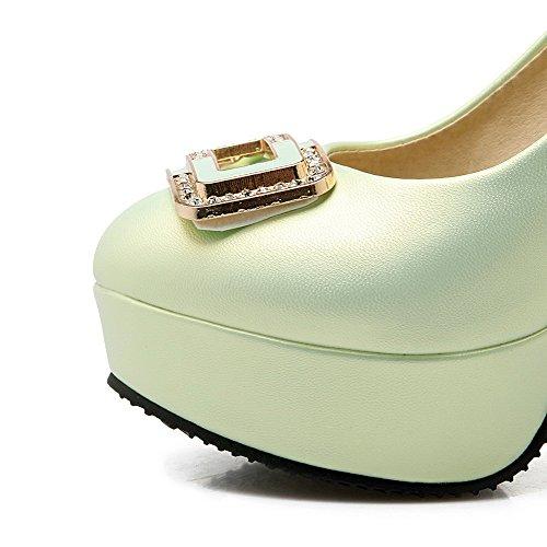AllhqFashion Damen Ziehen Auf Hoher Absatz Pu Leder Rein Rund Zehe Pumps Schuhe Grün