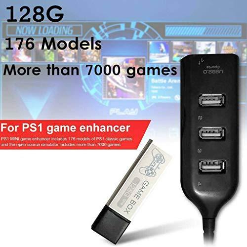Wenjuersty Kinder 128G Spiele-Enhancer Erweiterung, 176 Modelle für PS1 Mini -