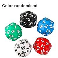 JenniferAnn Multi-Faceted Dice 30-Faced Dice Digital Dice Colorful Multicolor Dice Game Dice Children