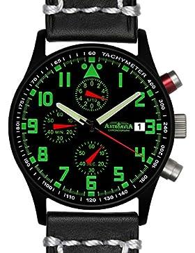 Astroavia Herren-Armbanduhr Chronograph Quarz weiches Leder schwarz weiße Naht N94BL3
