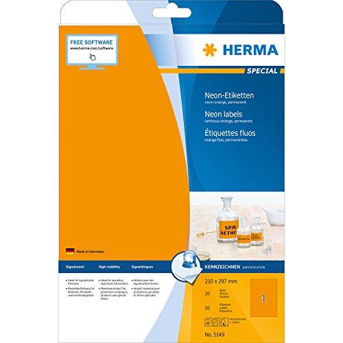 Herma 5149 Neonetiketten signalstark (10 x 297 mm auf DIN A4 Papier matt) 20 Stück, neon-orange, selbstklebend, PC-bedruckbar