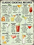 Small CLASSIC COCKTAIL RECIPIES Kitchen Pub Vintage Retro Metal Tin Sign 10647 SMALL