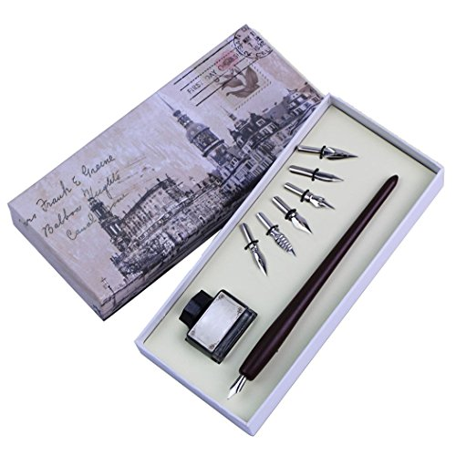 SoriaceRetro Gans Federkiel, Kalligraphie Feder Pen Geschenkset mit Feder Quill/Tinte Flasche/6...