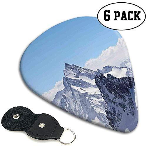 Plektren 6 Stück, Snowy Mountain Peaks Tops Szene High Lands ICY Frozen Swiss Outdoor Art