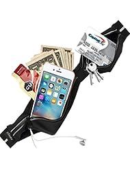 Ceinture de course ushake, résistant à l'eau léger coureurs avec taille de ceinture pour Apple iPhone 66S 6Plus 55S 5C hommes femmes Fitness Gym, noir, 1lot