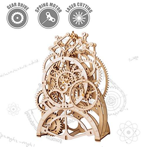 ROBOTIME 3d Wooden Puzzle Laser-cut - Building Construction Moving Kit - Mechanical Gift for Boyfriend (Pendulum Clock)
