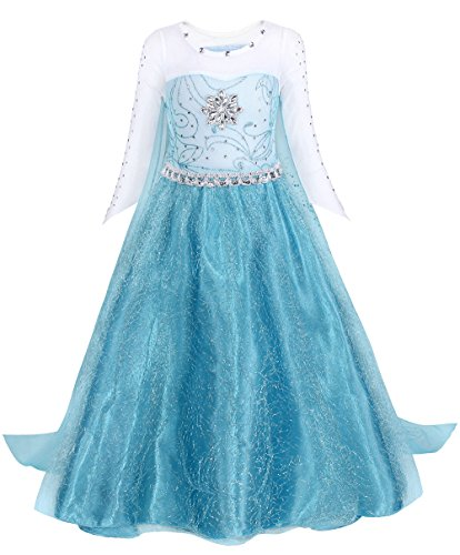 AmzBarley Girls Princess Dress Snow Queen Elsa Costume Long Sleeve Fancy Party Dress up with Shiny Cape for Kids