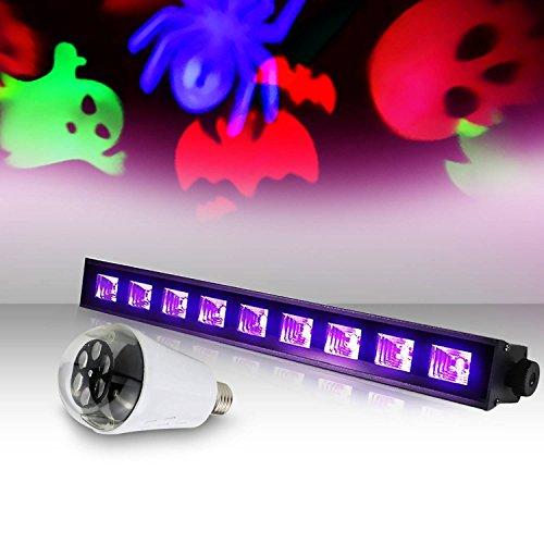 Effekt UV 9x 3W–lytor UV Fantom + Leuchtmittel 4Motive Gobo Halloween RGB + Weiß (Fantome Halloween)