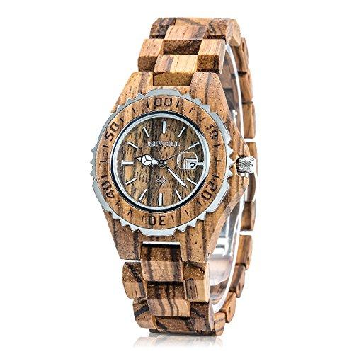 BEWELL 100BL Damen Armbanduhr Analoganzeige Japanisches Quarzwerk mit Zebra-Uhrenarmband und Multi-Funktionen des Kalenders Multi Zebra