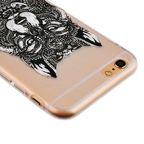AllDo iPhone 7 Hülle Transparente Hülle TPU Silikon Gummi Gel Schutzhülle Soft Slim Clear Case Cover Schlanke Weiche Etui Glatte Flexible Schale Ultra Dünne Leichte Tasche Anti-stoß Anti-Kratz Anti-Ru Aztec Wolf