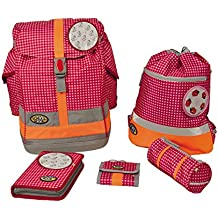 bd72256878620 School Mood - Schulranzen 6 tlg. Set Fly - Pink Check Patchies Karo Pinky