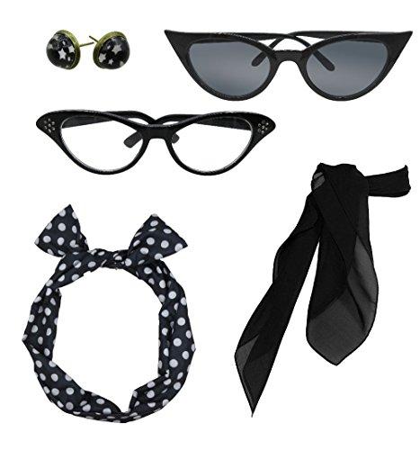 olka Dot Style Schal Brille Stirnband und Ohrringe Kostüm Zubehör Set (1950 Tanz Kostüm)