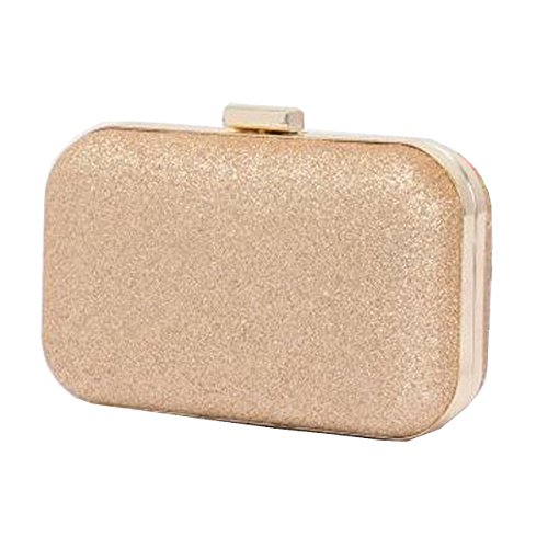 Frauen-Kupplungs-Geldbeutel-Hard Case Glänzende Abendtasche Glitter Mit Kettenbügel Gold