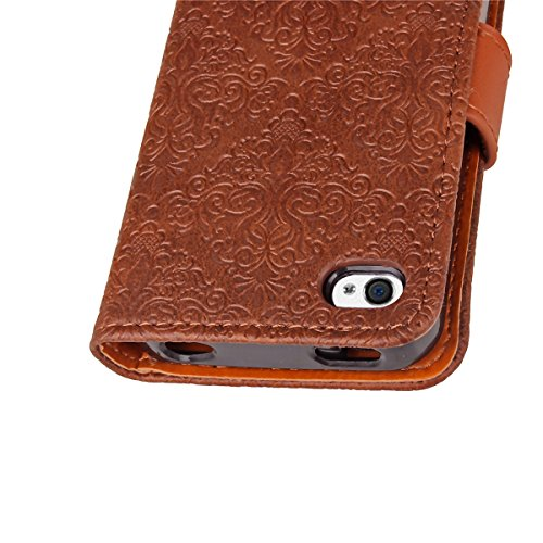 Custodia iPhone 4S,Case Cover per iPhone 4S, Ukayfe Luxury Puro Colore Modello Goffratura Murale Continental Cristallo 3D Design Bumper Slim Folio Protectiva Lussuosa Retro Custodia Cover [PU Leather] Murale Marrone scuro