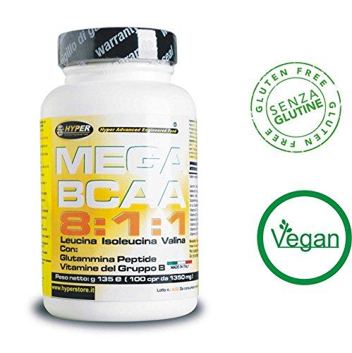 BCAA 8:1:1 Aminoacidi ramificati potenziati con Glutammina Peptide e Vitamine del gruppo B 600 Compresse 810 gr Nuova formulazione con rapporto 8:1:1 (8 leucina, 1 Isoleucina, 1 Valina