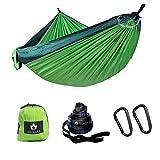 Ancmaple Camping Hängematte mit speziellen Baum-schonenden Gurten. Tragbare Hängematte aus Fallschirm-Nylon für Rucksack Reisen (Grün/dunkelgrün)