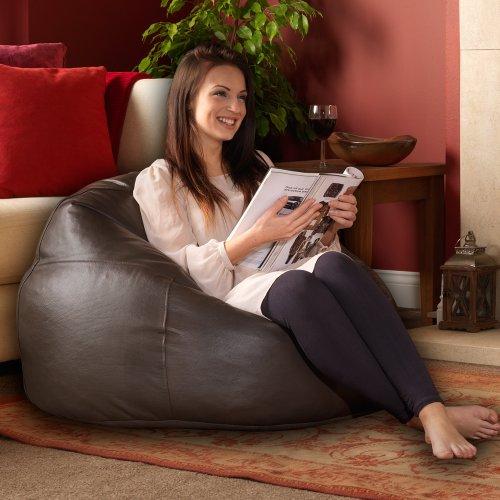 Luxus Echt Leder Sitzsack–ICON Designer Sitzsäcke–Getäfelten XL Sitzsack in Leder Braun