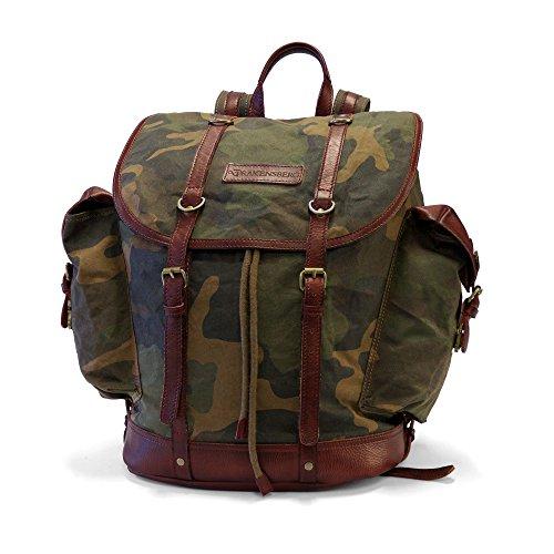 DRAKENSBERG Rucksack Kimberley-Camo-Back-Pack, gewachste Baumwolle, Leder, 24 L, Camouflage, DR00131 (Gewachstem Canvas Rucksack Herren)
