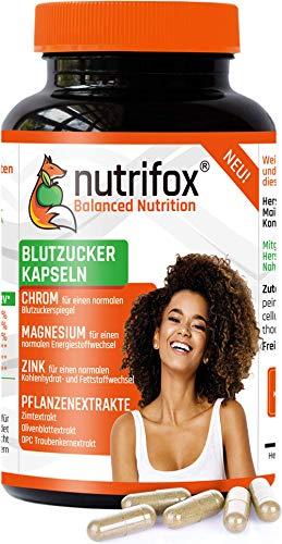 NUTRIFOX Blutzucker Kapseln mit Mineralien (Chrom, Zink, Magnesium) und pflanzlichen Extrakten (Ceylon Zimt, OPC Traubenkernextrakt, Olivenblattextrakt) - Premium, 120 Stoffwechsel Kapseln, vegan
