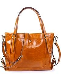 Yafeige Women s Handbag Vintage Soft Genuine Leather Shoulder Tote  Top-handle Bag Cross-Body 86a059d846c1e