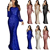 FidgetGear Womens Sequin Long Gown Sexy Dresses for Party Night Club Tassels Fringe