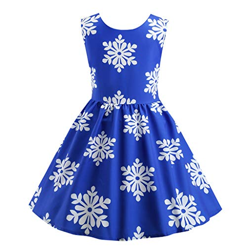 Livoral Mädchen Ballettröckchen Junge Kinder ärmellose Print Prinzessin Party Beauty Dress(Blau,140) (Kostüm Winnie Pooh The Gruppe)