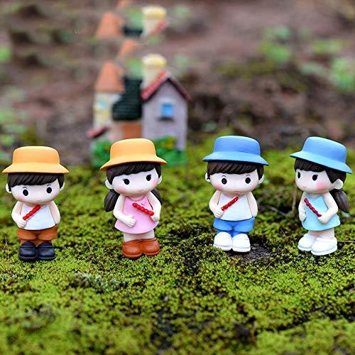 SHUANGBING Skulptur Dekoration Statue 4 Unids/Set Mini Muñecas Amantes Figuras Modelo Micro Paisaje Jardín De Hadas Gnomos Estatuilla Ornamentos Decoración Miniatura DIY
