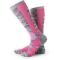 Calcetines para mujer de esquí de botas, escalada al aire libre Snowboard, medias de algodón para deportes de invierno Nexlook (rosa roja) (M 35-39)
