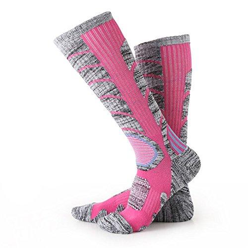 Damen Skischuh Socken, Klettern Outdoor Snowboard, Baumwollstrümpfe für Wintersport Nexlook (Rose Red) (M 35-39)