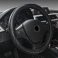 EcoGehen Universal Car Steering Wheel Cover Genuine Leather 38CM 15 Heavy Duty Elegant