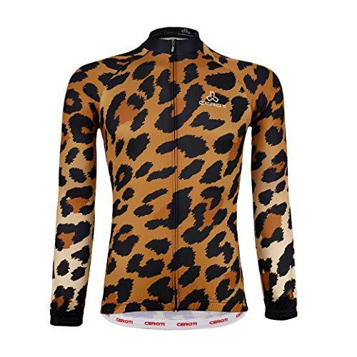 Ceroti Herren Fahrradtrikot, langärmelig, Outwear mit 3 Rückentaschen, hohe Atmungsaktivität und schnelltrocknend, Design: Farbe personalisierbar, ohne Aufpreis, Herren, Camouflage, X-Large