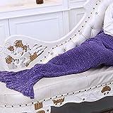 Carejoy Meerjungfrau Muster Wolldecke Schlafsack Strick Mermaid Tail Geeignet für Frühjahr und Herbst Winter Festival Schlafsack (Lila)