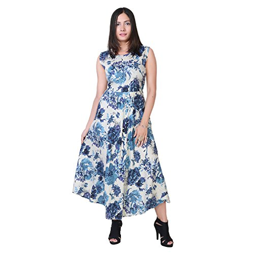 Ashwati Women\'s Party Wear Dress Round Neck Kurta One Piece for Girls Long Sleeveless Designer Western Wear Indian Kurti Maxi (Free Size up to XXL)