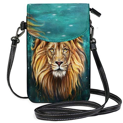 ZZKKO Animal Lion King Mini Crossbody Schultertasche Handy Geldbörse Geldbörse Leder für Frauen Casual Alltag Reisen Wandern Camping -