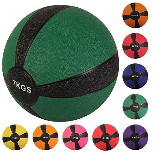 Balón medicinal deportivo 1 kg, 2 kg, 3 kg, 4 kg, 5 kg, 6 kg, 7 kg, 8 kg, 9 kg, 10 kg - Concebido para la práctica del cross training, el calentamiento de los deportistas, el refuerzo muscular o la rehabilitación (7 kg Verde)