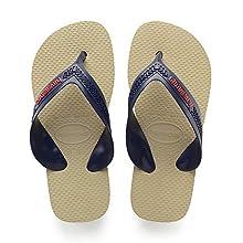 Havaianas Kids' Max Flip Flops, Navy Blue/Beige, 12 UK Child 29/30 EU