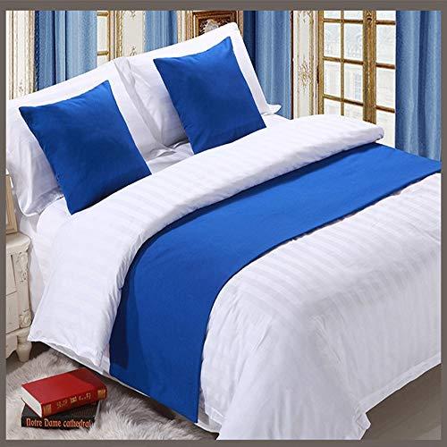 ERTO Bettläufer Solide Farbe Bett Schal Hotel BettwäSche Hell Blau -