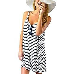Vestidos Casuales De Mujer Verano,Vestidos De Rayas Estampado Con Tirantes Finos Vestidos Playeros Cortos De Mujer (XL)