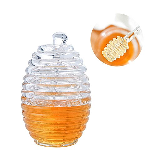 AOLVO Miel Mason Jar, Pot à Miel Dipper Distributeur de boîte de Rangement en Plastique Transparent Alimentaire Vide Ruche avec Style avec cuillère à 265 ml/255,1 Gram FDA Lfgb
