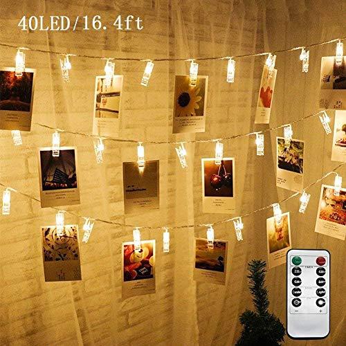 MIRUKE Lichterkette, batteriebetrieben, Fernbedienung, Lichterkette mit Clips zum Aufhängen von Bildern, Karten, 4 m, 40 LEDs (ohne Batterien) warmweiß - Kunstwerk Kinder Aufhänger