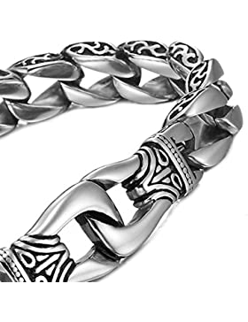 MENDINO Drachen Handschellen Schmuck Herren Edelstahl-Armband-Ketten-Armband mit einem Geschenk-Beutel